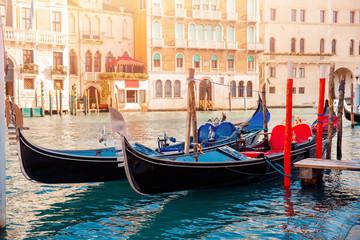 Foto op Aluminium Venetie Row gondolas boats on Grand Canal Venice. Concept banner site.