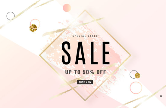 Fashion sale banner design background with gold frame, watercolor rose pink brush, special offer text, geometric elements. Up to 50 percent OFF. Vector illustration