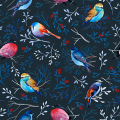 Gouahe seamless pattern with bright birds on branches with leaves on dark background