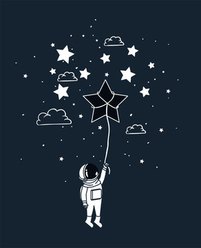Astronaut draw with star design