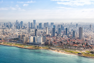 Tel Aviv skyline beach aerial view photo Israel city Mediterranean sea skyscrapers