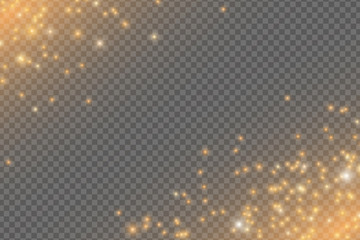Wall Mural - Falling golden lights. Magical golden dust and glares isolated on transparent background. Christmas star dust. Vector illustration