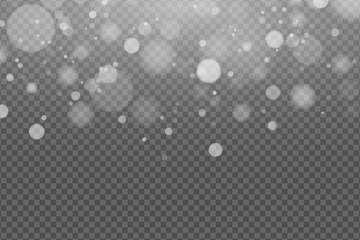 Wall Mural - Light effect of white glares bokeh isolated on transparent background. Bright glow. Realistic glitters. Falling snowflakes effect. Random blurry spots. Vector illustration