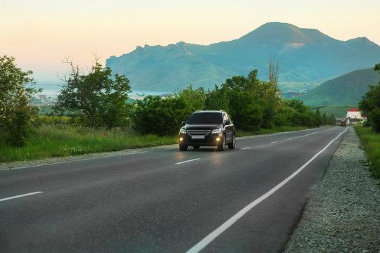 SUV Rides the Highway