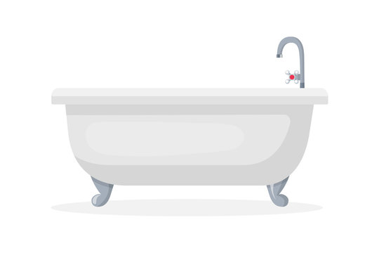 Comfortable bathtub flat vector illustration