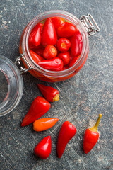 Pickled chili peppers.