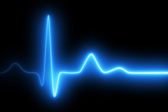 Neon heartbeat on black isolated background. 3d illustration. Background heartbeat line neon light heart rate display screen medical research