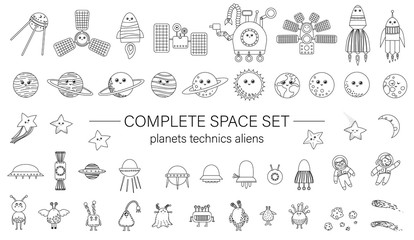 Big vector set of space elements for children