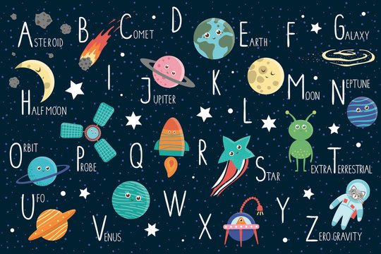 Space alphabet for children. Cute flat ABC with galaxy, stars, astronaut, alien, planet, spaceship, probe, comet, asteroid.