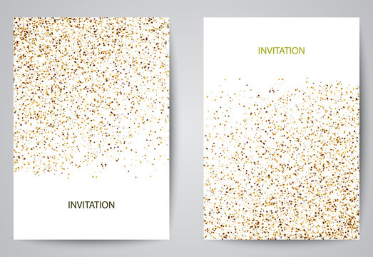 White banners with shadow and gold. Invitation