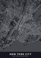 New York City (NYC, NY) map. Dark poster with map of New York City (New York, United States). Highly detailed map of The