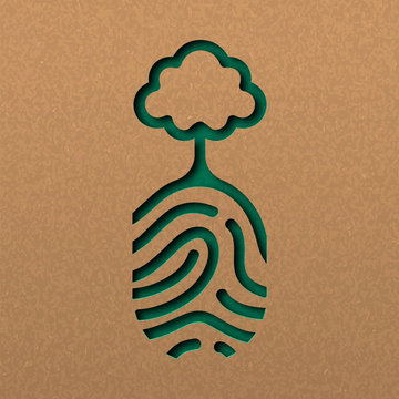 Natue paper cut concept of finger print with tree