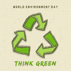 Environment Day card of green recycle symbol