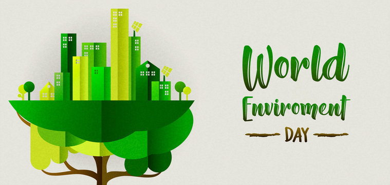 Environment Day banner of eco city in tree