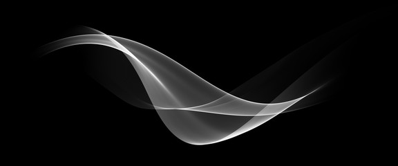Poster Fractal waves Abstract Black And White Wave Design