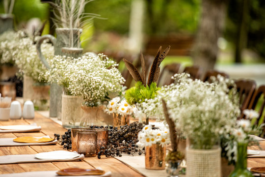 Details of the marriage ceremony held in the garden in the summer.