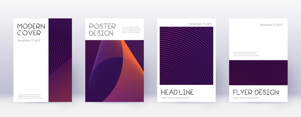 Minimal brochure design template set. Violet abstr