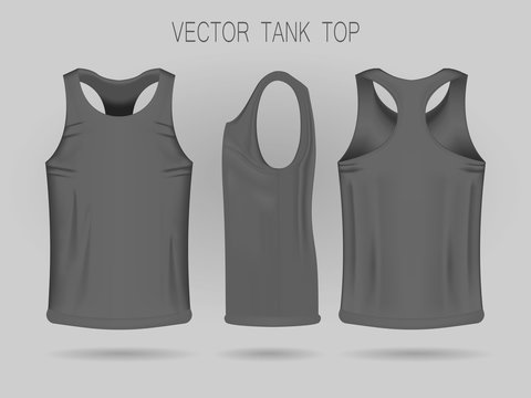 Men's gray tank top template in three dimensions: front, side and back view. Blank of realistic male sport shirts