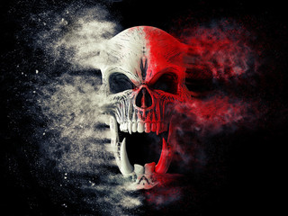 Red and white screaming demon skull disintegrating into dust Wall mural