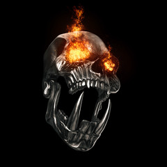Screaming angry demon skull with bright burning eyes