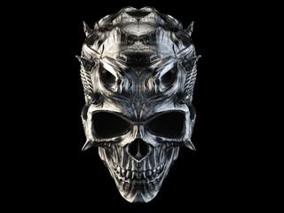 Grim dark steel demon skull with spikes Wall mural