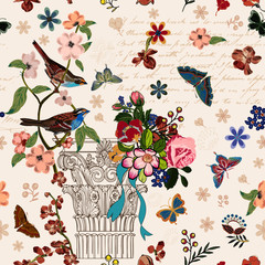 Vintage French style architectural image enhanced with flowers, birds butterflies, script. Interacted design for your projects. It's a vector pattern, seamless and repeating pattern.