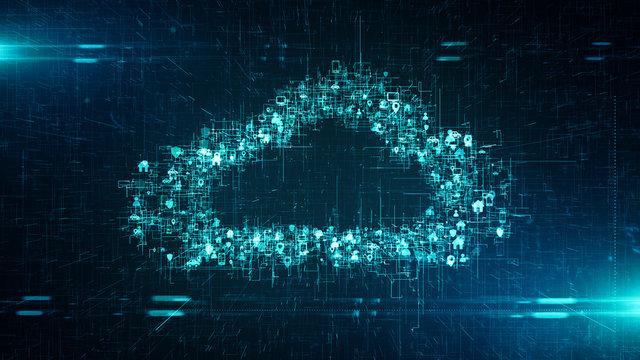 Big data binary visualization cloud computing internet of things IOT - Conceptual 3D render