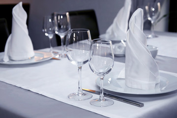 table setting in restaurant close up