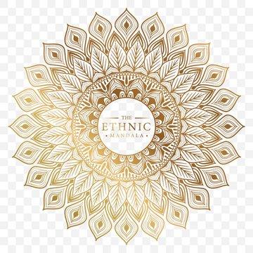 Elegant ornamental mandala background design with gold color