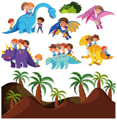 Kids riding dinosaur and prehistoric background