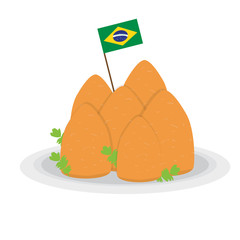Isolated coxinhas with a flag of Brazil. Traditional brazilian food - Vector