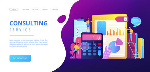 Tiny people auditors, accountant with magnifier during examination of financial report. Audit service, financial audit, consulting service concept. Website vibrant violet landing web page template.