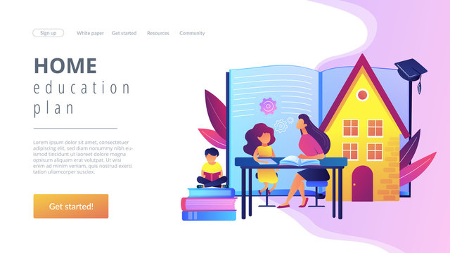 Children at home with tutor or parent getting education, tiny people. Home schooling, home education plan, homeschooling online tutor concept. Website homepage landing web page template.
