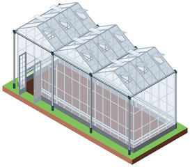 Greenhouse of three sections isometric icon isolated on white