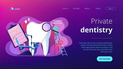 Dentist with magnifier on ladder examining huge patient tooth and dental chair. Private dentistry, dental service, private dental clinic concept. Website vibrant violet landing web page template.