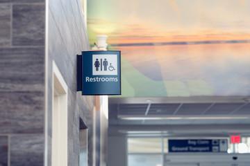 Restroom Sign in Airport Building