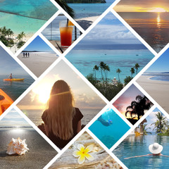 Collage of sunny tropical beach vacation travel photos