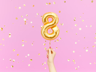 Eight year birthday. Female hand holding Number 8 foil balloon. Eight-year anniversary background. 3d rendering Wall mural
