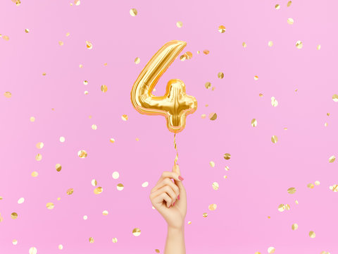 Four year birthday. Female hand holding Number 4 foil balloon. Four-year anniversary background. 3d rendering