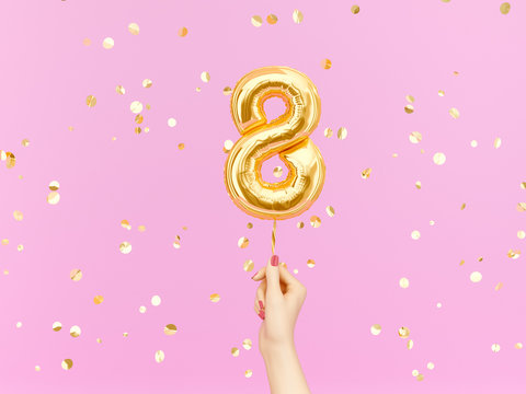 Eight year birthday. Female hand holding Number 8 foil balloon. Eight-year anniversary background. 3d rendering