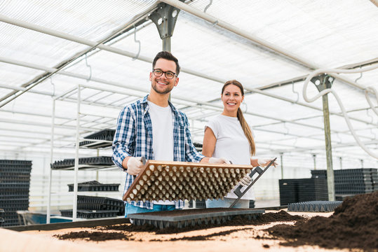 Two agronomy students filling trays with soil in vegetable cultivation farm.