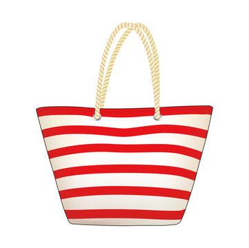 Red stripe tote bag, summer beach bag, shopping bag, vector illustration sketch template
