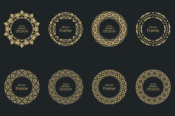 Set of circular baroque patterns