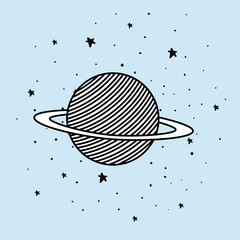 Space planet and stars design vector illustration