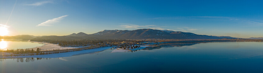 Sandpoint Idaho USA Aerial Sunset Waterfront Winter Panorama