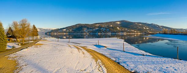 Sandpoint Park Idaho Sunset Snowy Winter Scene Lake Pend Oreille