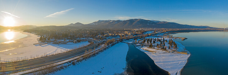 Sandpoint Idaho USA Pano Drone View Lake Pend Oreille Snowy Winter Sunset Cityscape