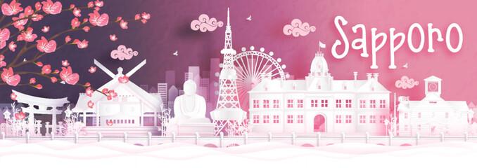 Fototapete - Autumn season with falling Sakura flower and Sapporo, Japan world famous landmarks in paper cut style vector illustration