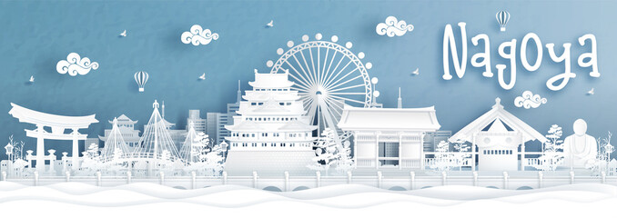 Fototapete - Panorama view of Nagoya city skyline with world famous landmarks of Japan in paper cut style vector illustration.