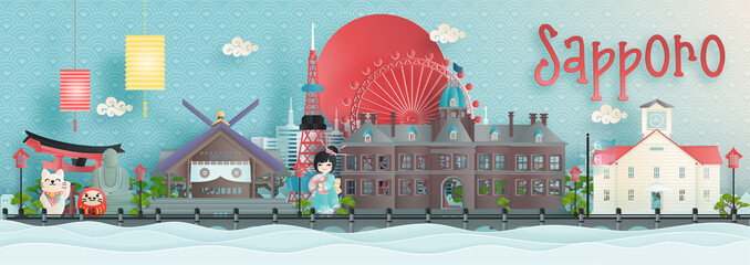 Fototapete - Panorama view of Sapporo, Hokkaido city skyline with world famous landmarks of Japan in paper cut style vector illustration.